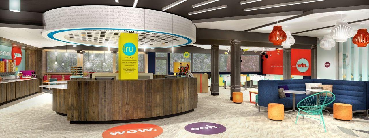 So soll's aussehen: Ein Rendering einer Lobby der Marke Tru by Hilton