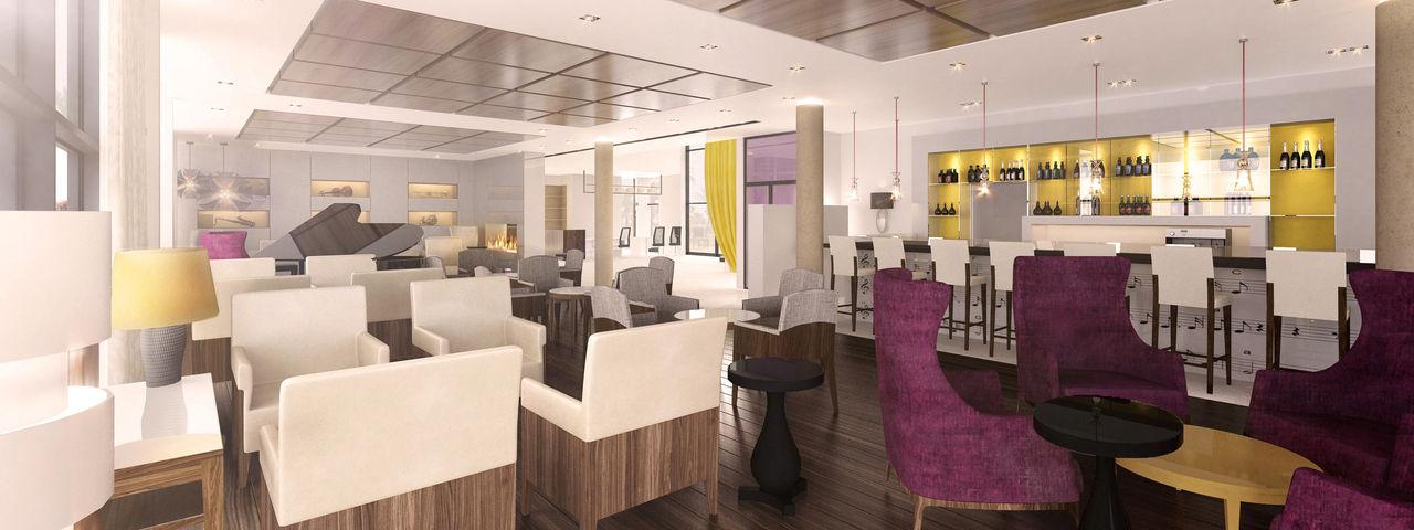 Die Hotel Lounge noch als Architekten-Entwurf ...