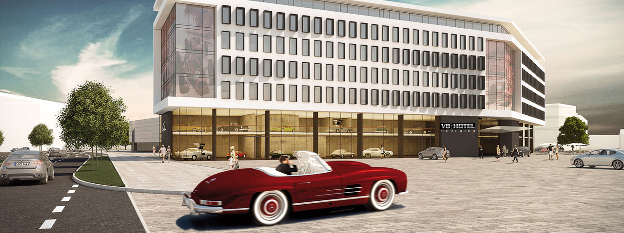 V8 Hotel Superior Motorworld Region Stuttgart: Themenhotel für Autofans