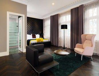 Gelbe Akzente: Der Bedroom der Brockhaus-Suite im Hote Fürstenhof in Leipzig