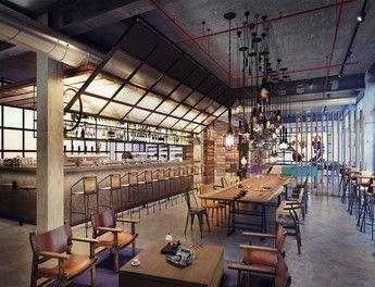 Industrial-Chic: Die Lampen, Betonwände und Möbel im Bar-Bereich