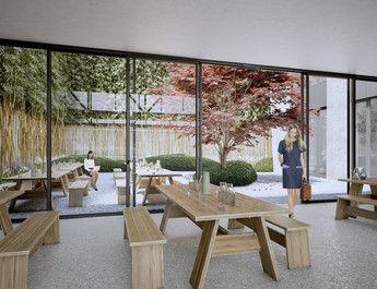 Offen: Das Restaurant der Shedhalle hat Zugang zum Garten mit Wasserspiel, Bambus und japanischem Ahorn