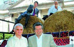 Umweltbewusst: (hinten von links) General Manager Ronald van Weezel und Küchenchef Leander Roerdink-Veldboom, (vorne von links) Obstbauer Fritz Müller und Lieferant Otto Weihe