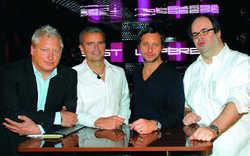 Trendsetter: Neue Dimensionen in Multimedia-Technik präsentieren (von links) Jens Zimmermann, Christoph Strenger, Jerry Appelt und Florian Wieder im Upper East