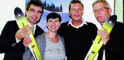 Einsatz für den Winterurlaub: (von links) Alexander Anetsberger (Bayerischer Wald), Eva-Maria Greimel (Bayerische Zugspitzbahn), Hardy Krüger jr. und Bernhard Joachim (Allgäu Marketing)