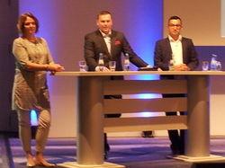 Stellten sich den Fragen der Hoteliers (v.l.): Edith Geurtsen von Booking.com, Lukasz Dabrowski von HRS und Hakan Ardic von Expedia