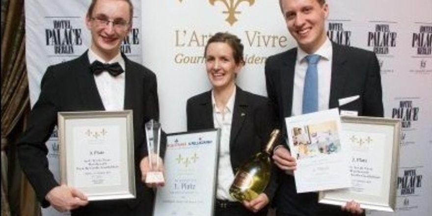 Die Gewinner des Preises für Große Gastlichkeit: (von links) Manuel Bachtig (3. Platz), Katharina Röder (1. Platz) und Thorsten Pötter (2. Platz).