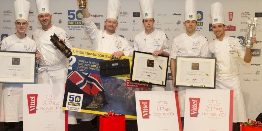 Siegerehrung vor zwei Jahren: Christian Krüger (Dritter von links) gewinnt in Stuttgart den Bocuse d'Or Germany 2014