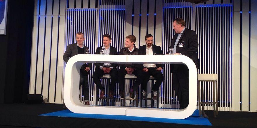 """Innovative Start-Up-Szene: Vier """"Junge Wilde"""" im Gespräch mit Marco Nussbaum (rechts)"""