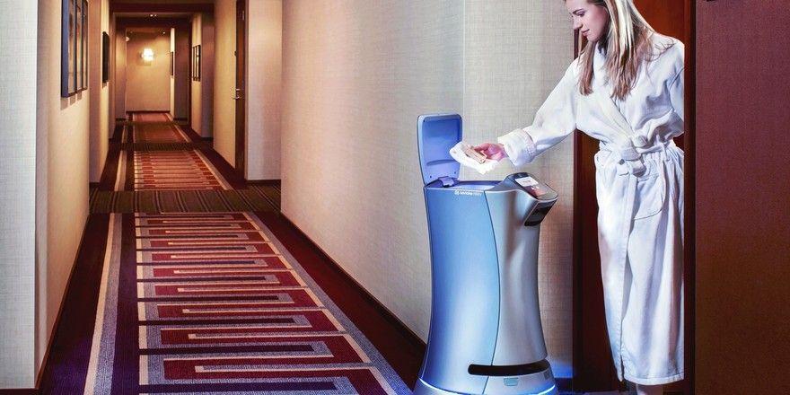 Roboter-Zimmerservice: Der Roboter namens Delay bringt Getränke und Hygieneartikel