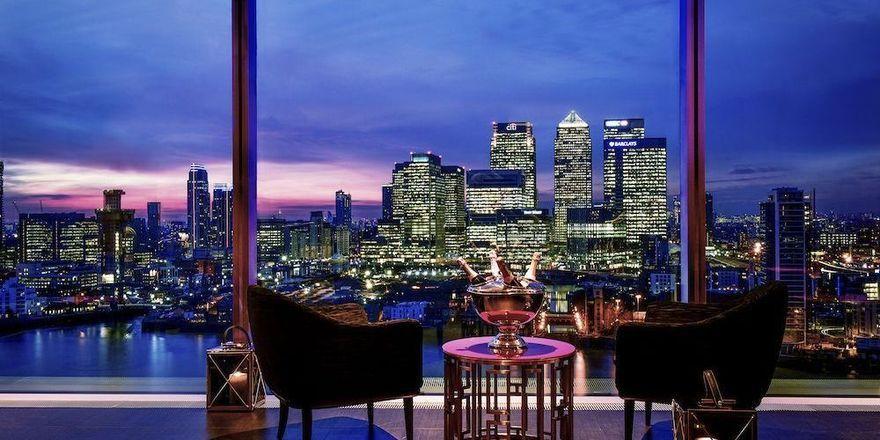 Imposant: Der Panoramablick über die Themse und die Silhouette der britischen Hauptstadt aus der Skyline-Bar im Intercontinental London O2