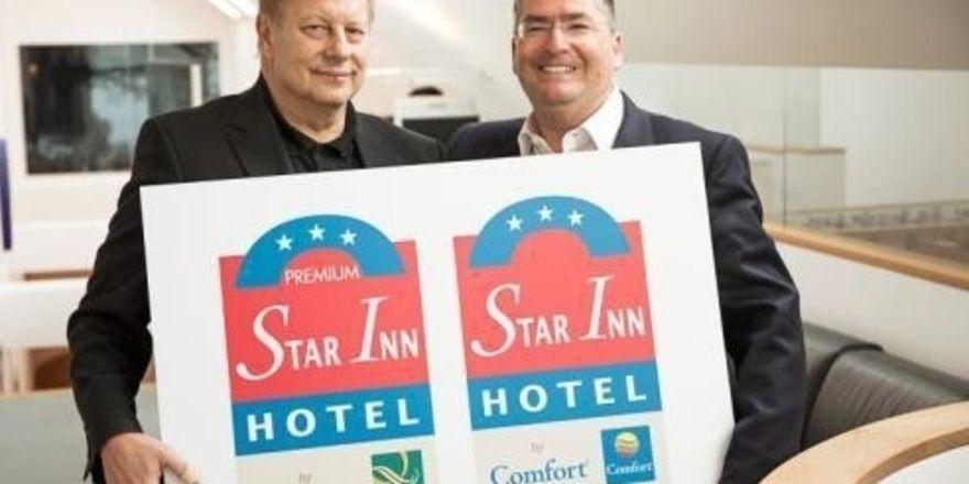 Präsentieren die neuen Co-Brands: Star-Inn-Inhaber Paul Garai (links) und Georg Schlegel, Geschäftsführer Choice Hotels Deutschland und Zentraleuropa