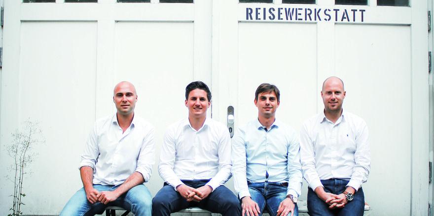Die vier Gründer von Travelcircus haben namhafte Geldgeber von ihrem Unternehmen überzeugt: (von links) Nils Brosch, Bastian Böckenhüser, Mathias Zeitler und Robert Anders.