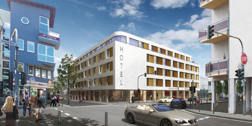 Moderner Auftritt: Die Fassade des IBB Hotel Ingelheim, das Mitte nächsten Jahres eröffnet werden soll.