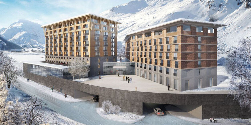 So soll's aussehen: Ein Rendering des künftigen Radisson Blu in Andermatt