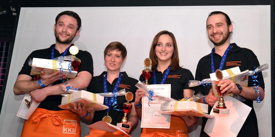Die Gewinner des Teamcup 2017: (von links) André Timmermann, Kathrin Groger, Jana Hansen und Christopher Paul.