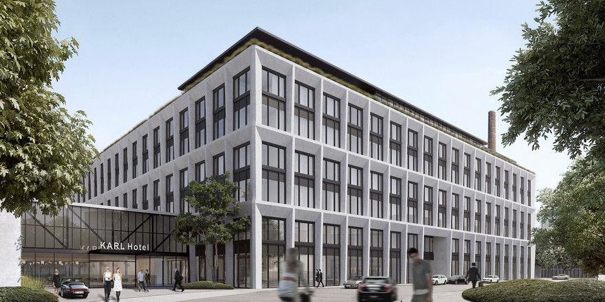 Markant: Die Fassade des neuen Geschäftskomplexes Karl