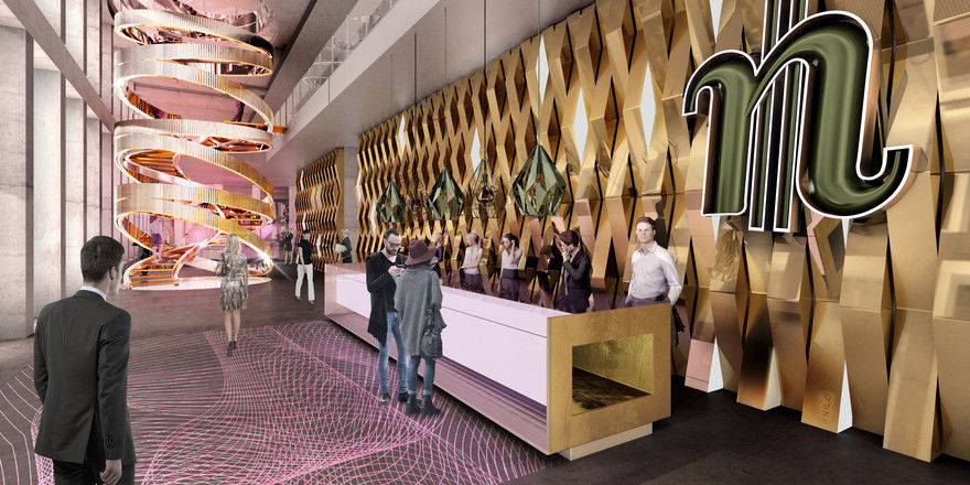 So soll's aussehen: Die Lobby im geplanten Frankfurter nhow