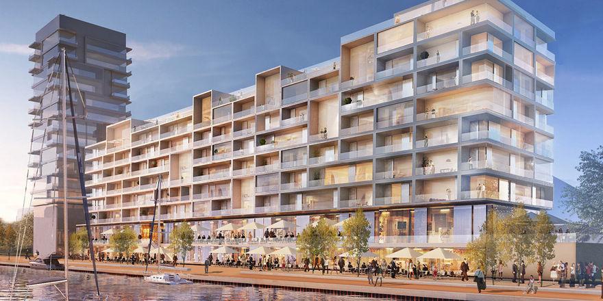 Der Hotelkomplex Pier 61|63 bietet 167 Zimmer mit Spreeblick