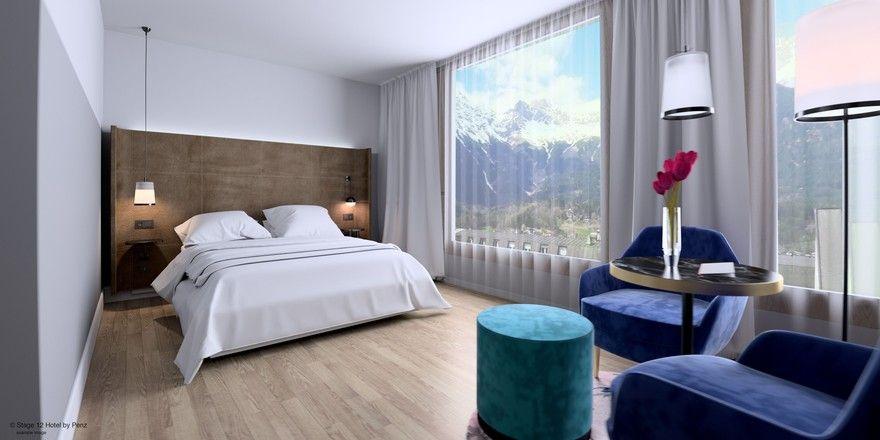 Blick auf die Berge: Doppelzimmer im Stage 12