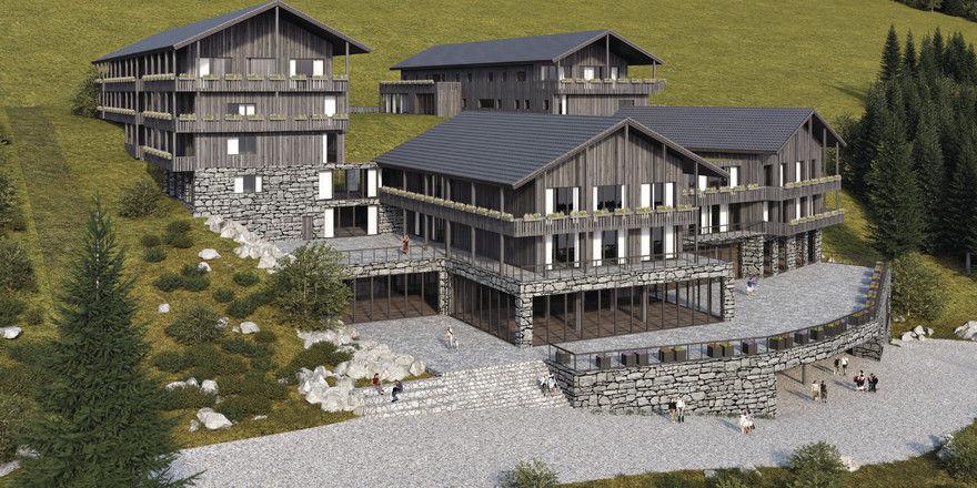 Das neue Silva Mountain Berghotel: Steinmauern, Holz und Glas prägen die Gebäude