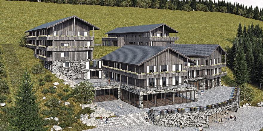 Alpen-Moderne: Steinmauern, Holz und Glas prägen die Gebäude des neuen Hotels auf dem Mittenwalder Kaffeefeld.