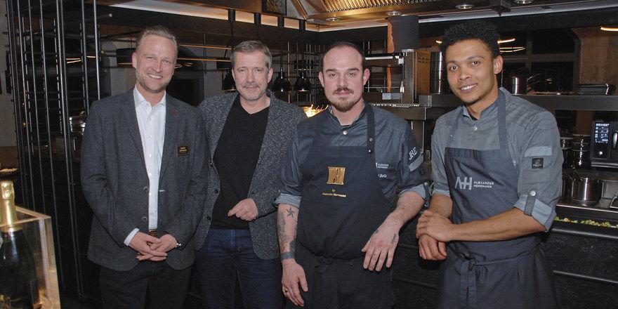 Das Führungsteam der neuen Restaurants Imperial und Fränkness: (von links) Hubert Gronauer (Geschäftsführer), Alexander Herrmann, Michael Seitz (Küchenchef Imperial), Michael Heiseb (Küchenchef Fränkness).