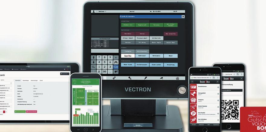 Sie gehen mit der Zeit: Die aktuellen Vectron-Kassenmodelle genügen den derzeitigen Anforderungen der Finanzämter.