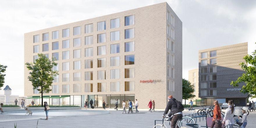 Entwurf: So soll das künftige Intercity Hotel am Hauptbahnhof Heidelberg aussehen