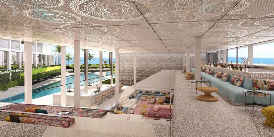 Offen gehalten: Zwei Bars mit Blick und Zugang zum Strand im künftigen W Hotel Ibiza