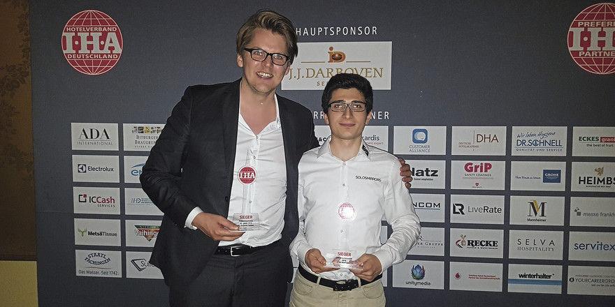 Glückliche Gewinner: Moritz von Petersdorff-Campen (links), Suitepad, und Giorgi Khubua, Solos Mirrors.