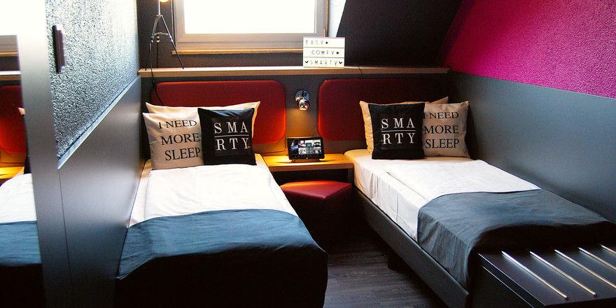 Platzsparend: So präsentieren sich die Zimmer im neuen Smarty-Hotel