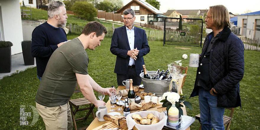 Sie kochten um den Sieg beim Perfekten Profi Dinner: Simon Tress, Christoph Brand, Harald Wohlfahrt und Frank Buchholz