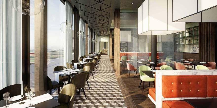 Mit Panoramablick: Das Restaurant bietet 120 Sitzplätze (Rendering)