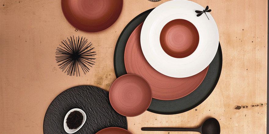 Eine Form, drei Farben: Die Serie Copper Glow von Villeroy&Boch lässt viele Variationen zu.