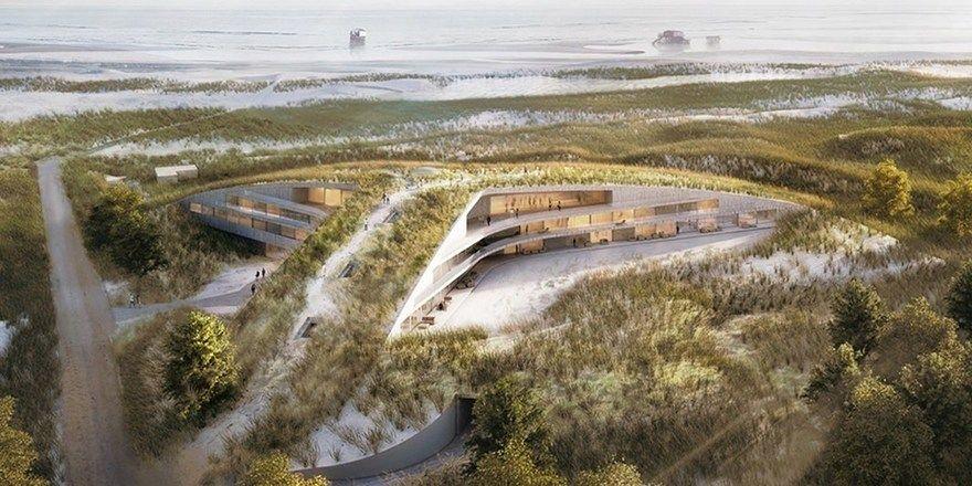So soll es aussehen: Die Architekten wollen die Düne quasi über das Hotel ziehen