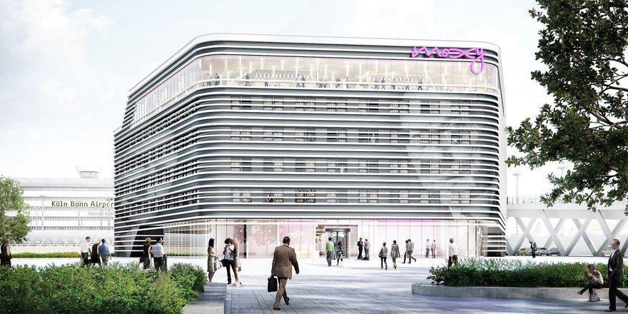 So soll es aussehen: Das künftige Moxy Hotel am Flughafen Köln/Bonn (Rendering)