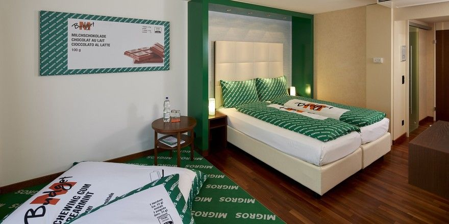 Einer Produktline von Migros nachempfunden: Das neue Themenzimmer im Hotel Säntispark