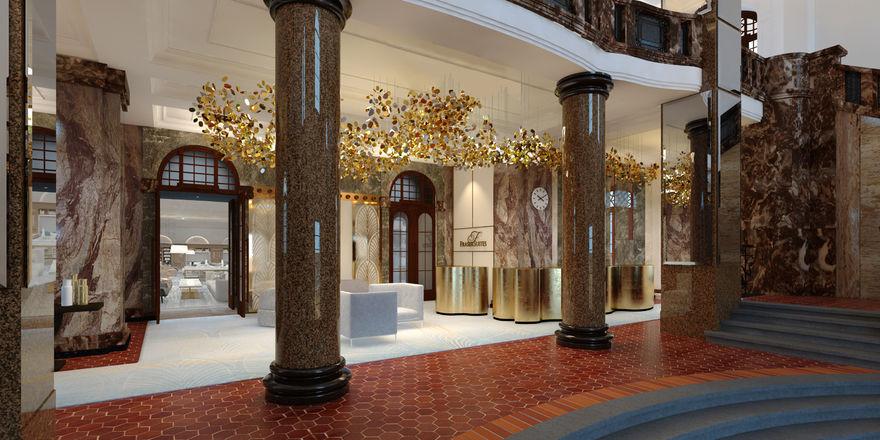 Opulenter Stil: So soll die Eingangshalle im künftigen Fraser Suites Hamburg aussehen