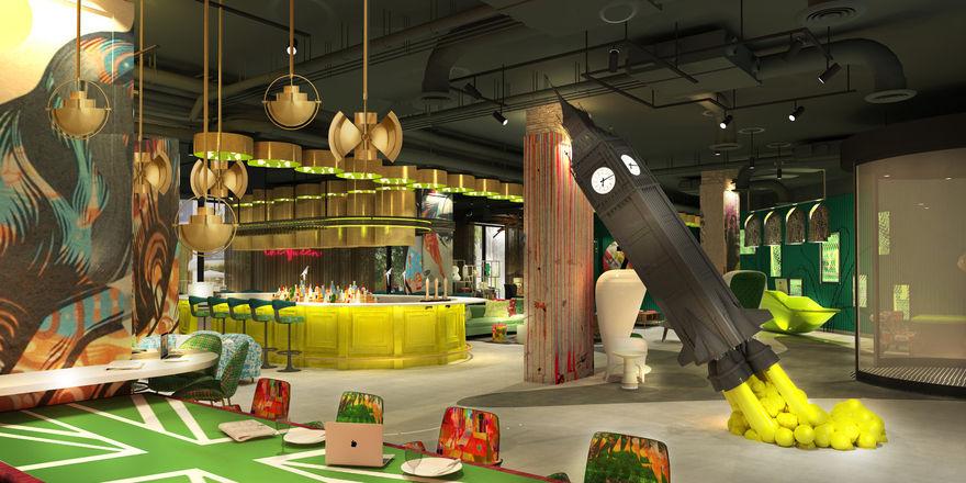 """Knallige Farben im Fokus: Die Rezeption und Lobby mit Kaminecke und """"Big Ben""""-Skulptur des Nhow London (Rendering)"""