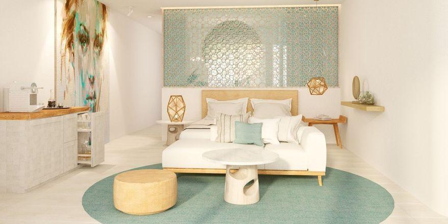 Schlicht und elegant zugleich: Eine der Jacuzzi-Suiten im neuen Steigenberger Pure Lifestyle