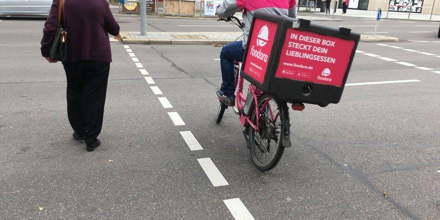 Sie wollen sich wehren: Fahrradkuriere von Foodora.