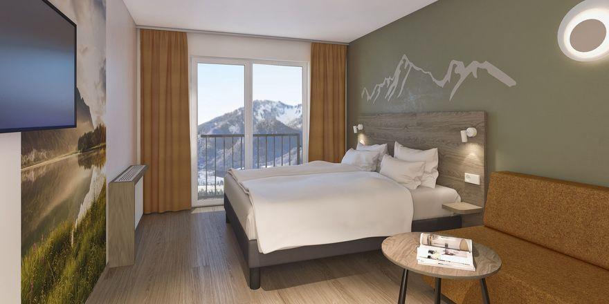 So soll's aussehen: Eines der Zimmer im A-Ja Resort Ruhpolding (alle Fotos sind Renderings)