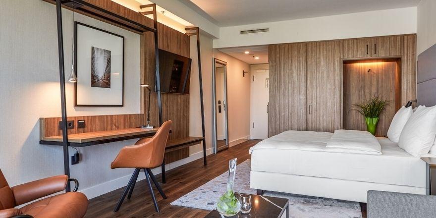 Bereits fertig renoviert: Die Zimmer im Radisson Blu Hotel in Frankfurt