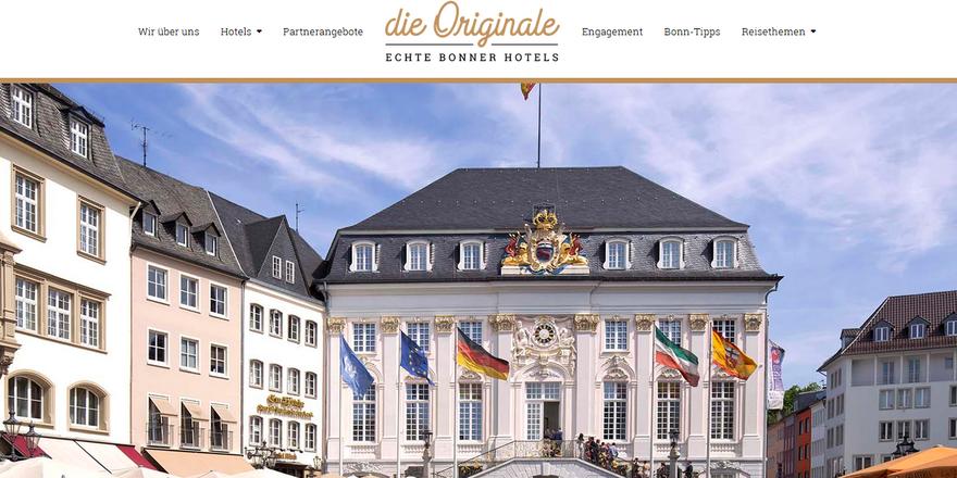 """Wollen Synergien schaffen: Die Mitglieder der Vereinigung """"Die Originale - Echte Bonner Hoteliers"""" (Screenshot der Webseite)"""