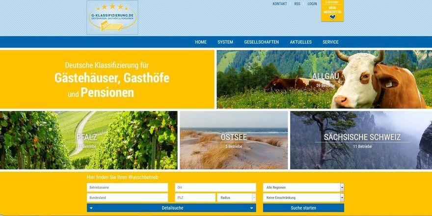 Neues Layout: Die Webseite der G-Klassifizierung (Screenshot)