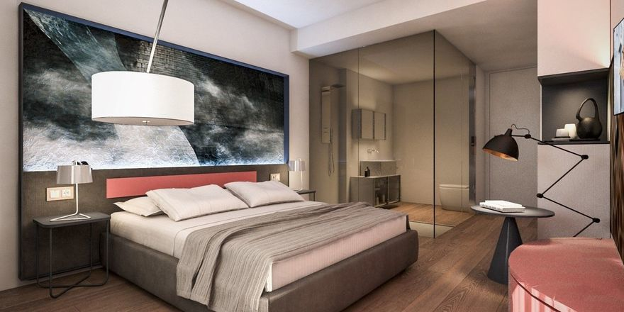 Strukturiert designt: Eines der Zimmer im neuen NYX Hotel in Bilbao