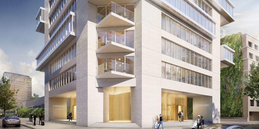 Hier ziehen Serviced Apartments der Marke Ascott ein: Der Riverpark Tower in Frankfurt/M. (Rendering)