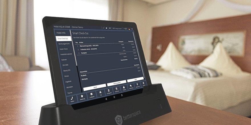 Komfortable Selbstbedienung: Software-Dienste für den Gast, wie hier von Betterspace, entlasten die Rezeption.