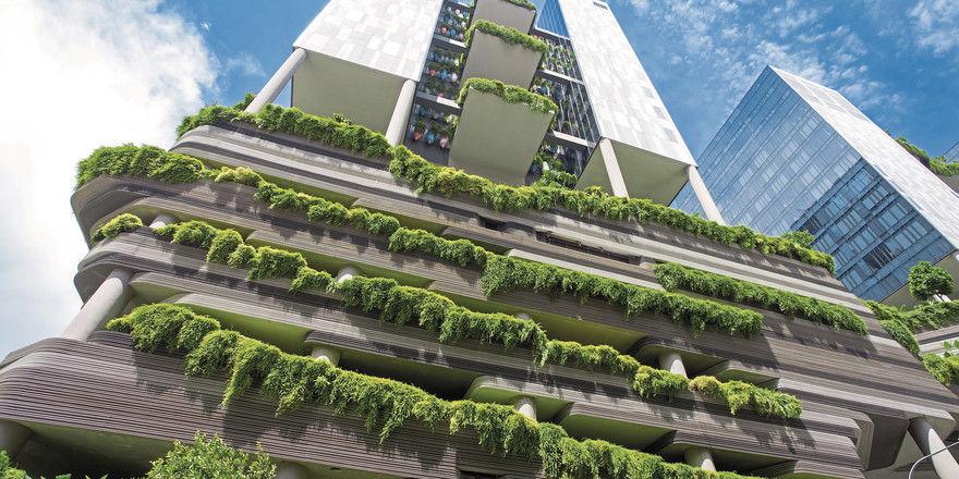 Grünes Schmuckstück in der Metropole: Die Fassade des Parkroyal on Pickering, Singapur.